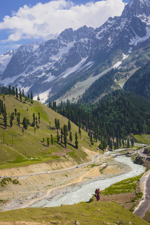 exhilaration: The path to snow mountains in Sonamarg, Kashmir Stock Photo