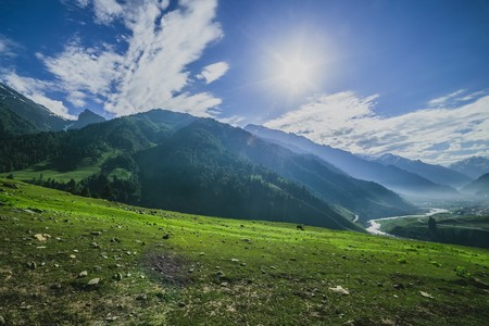 highlands region: Green Valley with blue sky Stock Photo