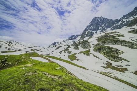highlands region: Snowy mountain rock Stock Photo