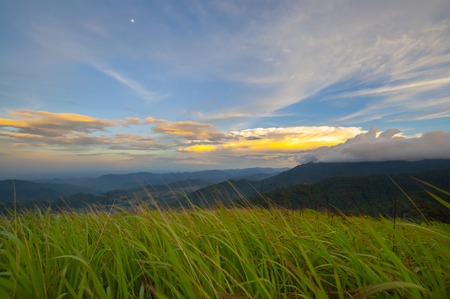 highlands region: sunrise in the mountains landscape