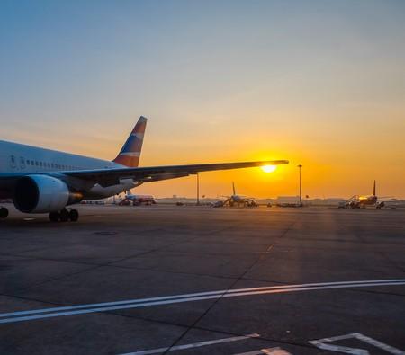 lit: Airplane at sunset - back lit