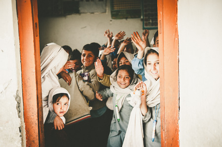 Children in a village in the south of Skardu are learning in the classroom of the village school