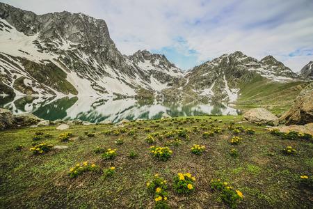 icefall: lake in mountain Stock Photo