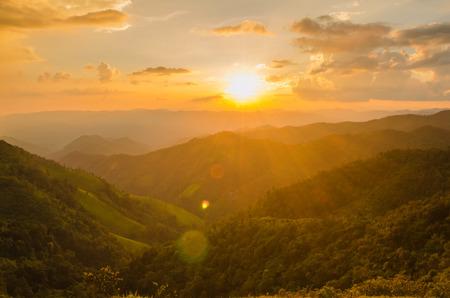 golden light: mountain morning with golden sunlight Stock Photo