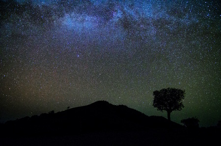 astrophysics: Wide field long exposure photo of the Milky Way