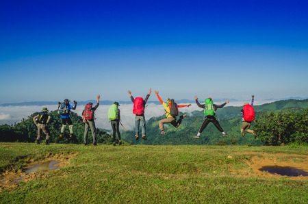 Happy Hikers at Top of Mountain Stok Fotoğraf