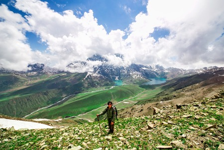 Hiking on Sonamarg mountain, Kashmir India Stock Photo