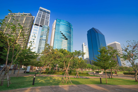 benjakitti: Cityscape of Benjakiti park Bangkok downtown city