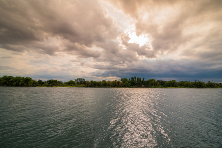 watershed: Evening storm over watershed and dramatic sky and clouds Stock Photo