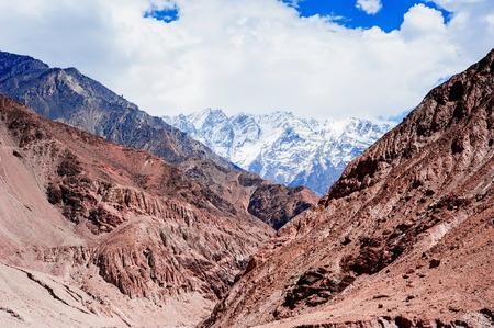 Karakoram mountain range and Nubra Valley - view from Khardung La Pass in Ladakh, North India