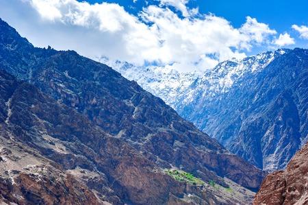 Karakoram mountain range and Nubra Valley - view from Khardung La Pass in Ladakh, North Indiab