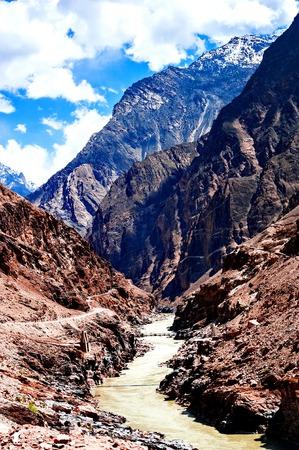 Karakoram mountain range and Nubra Valley - view from Khardung La Pass in Ladakh, North India Stock Photo