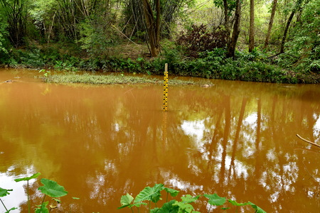 water level indicators at a river