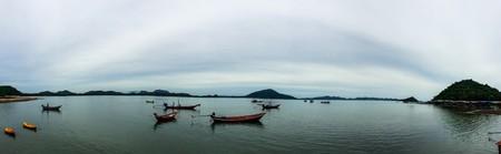 ebb: Long tail boat on beach on sunset on ebb. Thailand