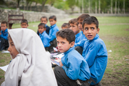 SKARDU, PAKISTAN - APRIL 18: An unidentified Children in a village in the south of Skardu are learning in the classroom of the village school April 18, 2015 in Skardu, Pakistan. Editorial