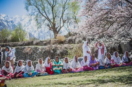 pakistani females: GULMIT VILLAGE, PAKISTAN - APRIL 14:An unidentified people in the Gulmit village, April 14, 2015 in Gulmit Village, Gulmit is the region of Gilgit territory in the Gilgit Baltistan region of Pakistan. Editorial