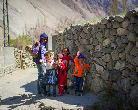 HUNZA, PAKISTAN - APRIL 14: An unidentified Children in a village of the Hunza, April 14, 2014 in Hunza, Pakistan with a population of more than 150 million people. Editorial
