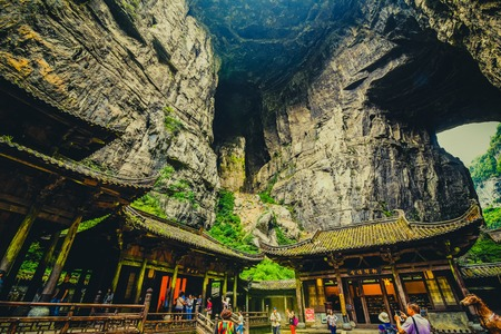 national fruit of china: Wulong Karst limestone rock formations in Longshui Gorge Difeng, an important constituent part of the Wulong Karst World Natural Heritage. China Editorial