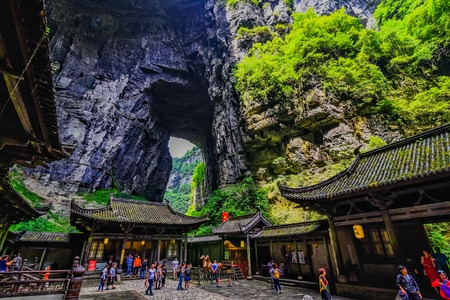 world natural heritage: Wulong Karst limestone rock formations in Longshui Gorge Difeng, an important constituent part of the Wulong Karst World Natural Heritage. China Editorial