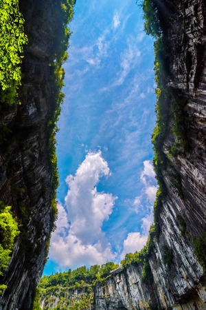 national fruit of china: Wulong Karst limestone rock formations in Longshui Gorge Difeng, an important constituent part of the Wulong Karst World Natural Heritage. China Stock Photo