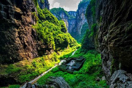 national fruit of china: Chongqing Wulong ancient Inn natural bridge Scenic Area