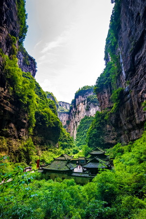 national fruit of china: Chongqing Wulong ancient Inn natural bridge Scenic Area
