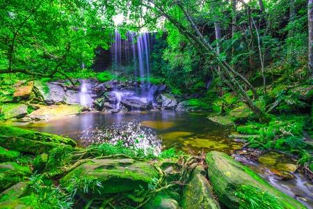 kradueng: beautiful tropical rainforest waterfall in deep forest, Phu Kradueng National Park, Thailand