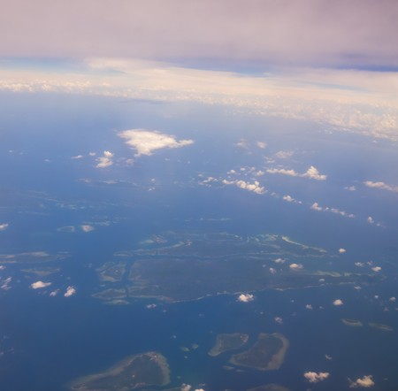 Island near Jakarta, aerial view from plane Stock Photo