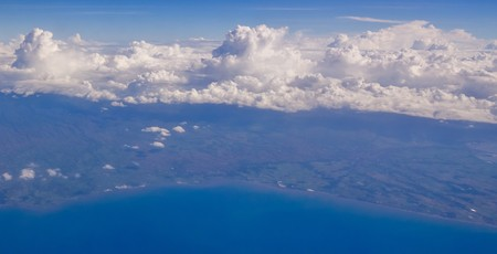 arial view: Island near Jakarta, aerial view from plane Stock Photo