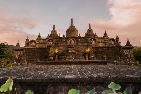 dome of hindu temple: Buddhist temple of Banjar in island Bali Indonesia - travel and architecture background
