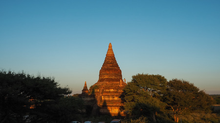 Scenic sunrise above bagan in Myanmar Bagan is an ancient city with thousands of historic buddhist Stock Photo