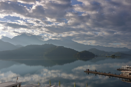 Beautiful landscape view of mountain and lake with reflection in the morning under sky and cloud, Nantou, Taiwan Stok Fotoğraf