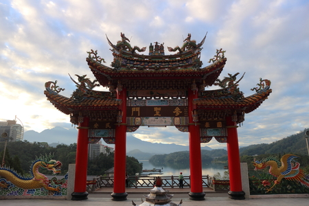Nantou County , Taiwan - December 06 , 2018 : Beautiful scenery from Sun Moon Lake Wenwu Temple viewing famous Sun Moon Lake in front of the temple 에디토리얼