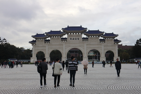 DECEMBER 09, 2018. Taipei, Taiwan. Tourists and Visitor visiting liberty square near the national theater and concert halls in the city of Taipei, Taiwan.