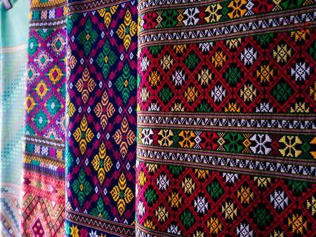 Thai pattern silk fabric, Handmade woven fabrics of Thai silk textile