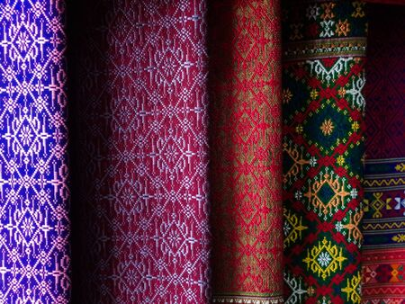 Thai pattern silk fabric, Handmade woven fabrics of Thai silk textile