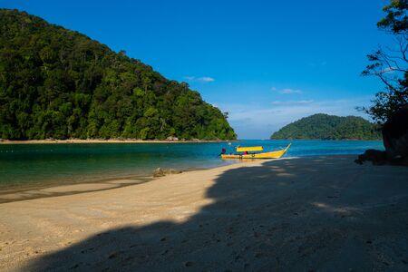 Longtale boats on the beautiful tropical sea  beach, Surin island, Thailand