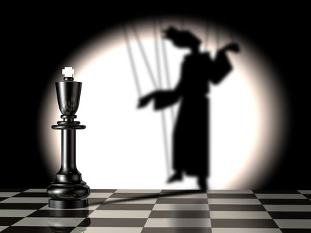 gamesmanship: Black king with puppets shadow