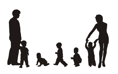 infants: beautiful silhouettes of family and children Illustration