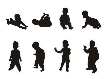 silhouettes of children Stock Vector - 2678994