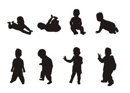 siluetas de los niños  Ilustración de vector