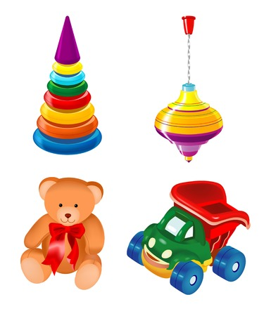 bright attractive set of toys Vector