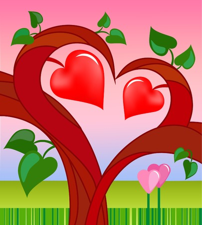 tree of love with two hearts. vector card for valentine day Vector
