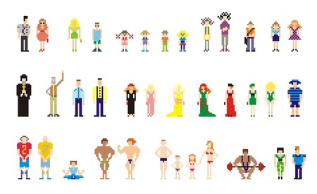 vector illustration of pixel people for web Vector