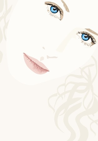 teen girl face: chica rubia con ojos azules