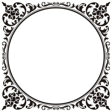 flourish frame: floral frame Illustration
