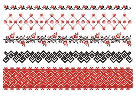 Ornaments. Ukrainian art borders. Set 2 Vector