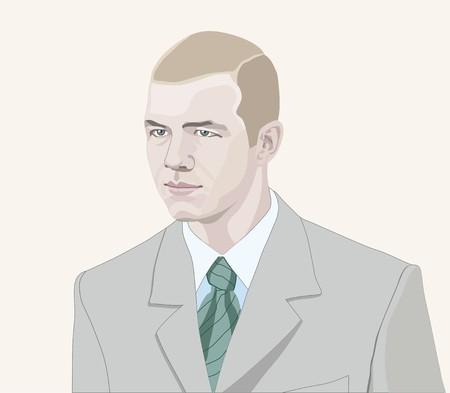 businesslike: joven vestida de nuevo con traje empate. ilustraci�n vectorial