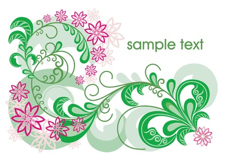 pink-green floral background. beautiful vector illustration Vector