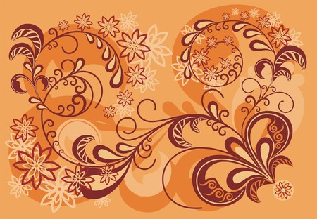 orange floral background. beautiful vector illustration Vector